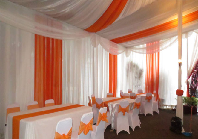 sidewall tenda putih, orange